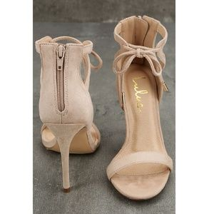 62f81da9bdc Lulu s Shoes - NWOT! KATE NUDE SUEDE ANKLE STRAP HEELS 442752